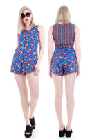 80s Carole Little Colorful Flags and Fish Print Romper