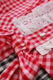 Deadstock Vintage Gingham Red and Black Cotton Dress Size Large