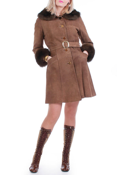 60s Belted Suede and Shearling Boho Mod Coat