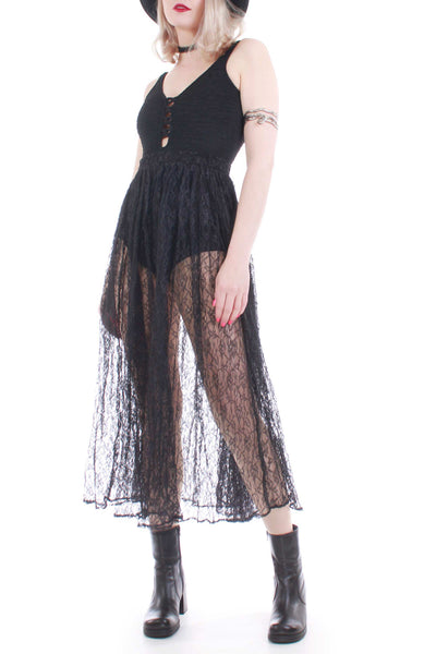 Vintage Black Lace Gypsy Skirt Made in the USA