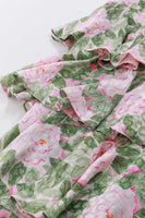 80s Pastel Silk Ruffle Dress Pink and Green Floral Print