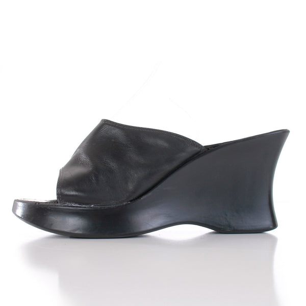90s Black Wedge Platform Mule Sandal Made in Italy Size 7.5 - 8