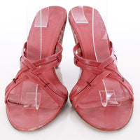 Vintage Bottega Veneta Calf Hair Red Leather Wedge Sandals Made in Italy Size 8.5