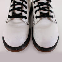 Vintage Dr Martens England White Leather 10 eye Combat Boots Size 6 - 6.5