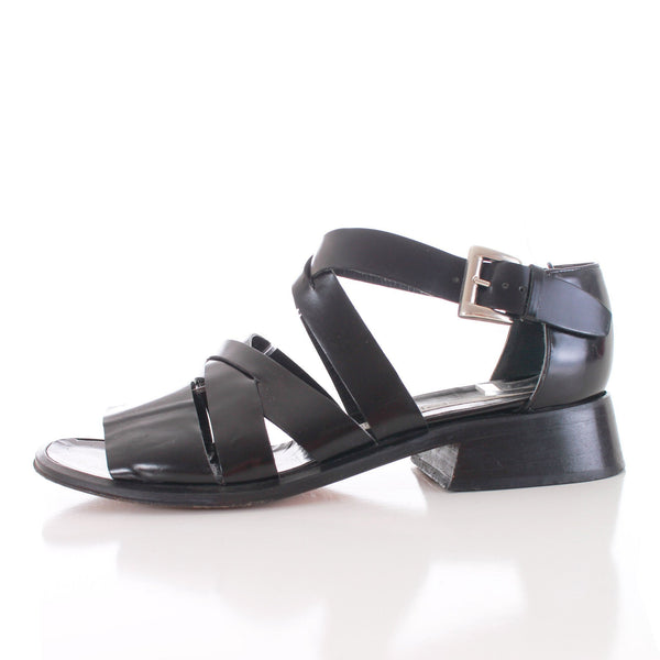 Vintage Via Spiga Shiny Black Leather Strappy Sandals Made in Italy Size 7.5 USA