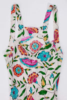 Vintage Silk Botanical Floral Print Slip Dress