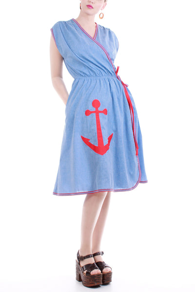 70s Vintage Nautical Cotton Wrap Dress