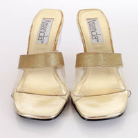 Vintage Clear Wedge High Heel Gold Metallic Sandals Size 7.5 - 8 USA