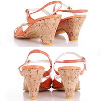 Deadstock 70s Vintage Orange Leather Wedge Cork Sandals Made in Spain Size 6