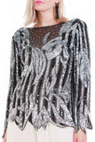 Vintage Sheer Silk and Silver Metallic Sequin Blouse