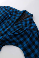 Vintage Buffalo Plaid Blue and Black 1940s Bombshell Style Woven Dress