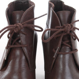 Brown Leather Block Heel Lace Up Ankle Boots Size 6 USA