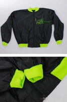 Vintage Lagerfeld Black and Neon Green Spellout Windbreaker Jacket