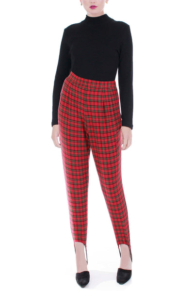 80s Red Plaid Stirrup Stretch Pants Size Small Petite