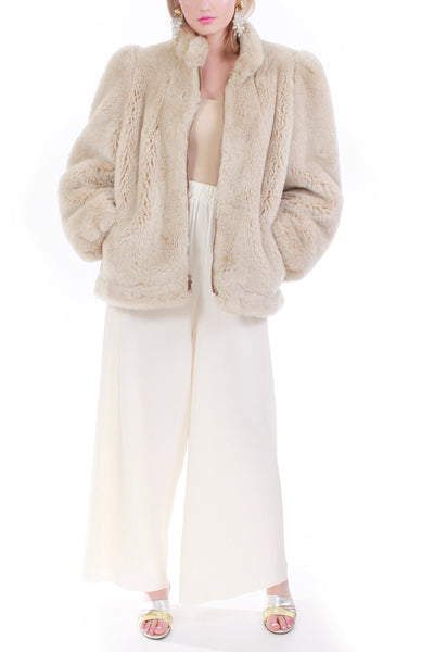 Vintage Plush Ash Blonde Faux Fur Coat Made in the USA