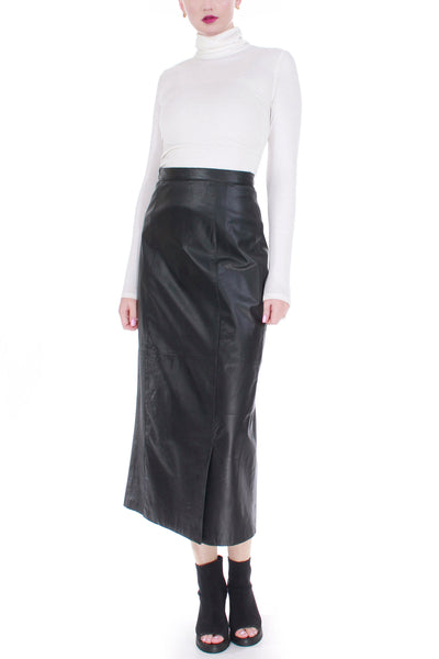 Vintage High Waist Black Leather Midi Skirt Women's Size Medium