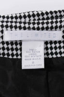90s Vintage Black and White Plaid Glen Check Collared Knit Dress Made in the USA Size Medium