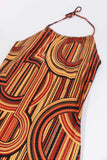 90s Vintage Abstract MCM Print Sequin Halter Dress Size M