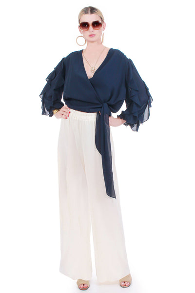 "70s Navy Ruffled Sleeve Plunging Chiffon Wrap Blouse Made in the USA size XL+ 46"" waist"