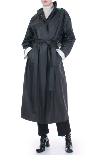 Vintage Vinyl Trench Coat Black and White Full Length Raincoat