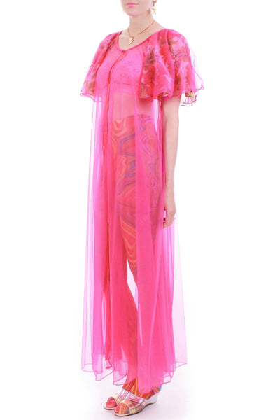 1960s Vintage Neon Hot Pink Sheer Double Layer Nylon Floral Chiffon Peignoir Robe