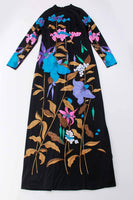 70s Vintage Psychedelic Botanical Print Caftan Maxi Dress Size Medium