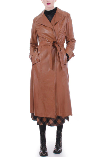 70s Vintage Caramel Tan Leather Belted Wrap Coat Women's Size Medium