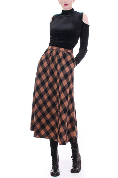 70s Vintage Pendleton Checkered Plaid Wool High Waist A-Line Skirt Made in the USA