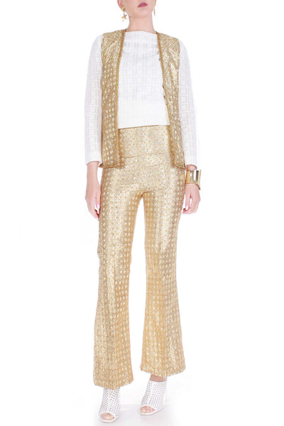60s Vintage 2pc Gold Lame Metallic High Waist Bell Bottoms and Vest Set