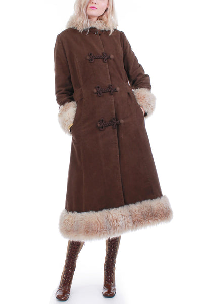 70s Vintage Faux Fur and Vegan Suede Hooded Boho Hippie Maxi Coat Made in Canada Womens Size Medium