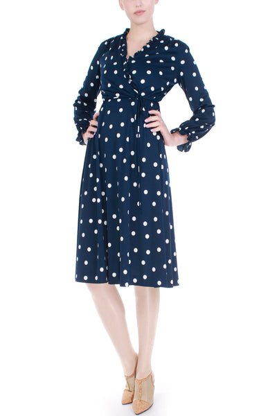 Vintage Navy and White Polka Dot Belted Shirtdress