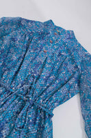 70s Sheer Blue Snakeskin Print Long Sleeve Shirt Dress Size Small Petite