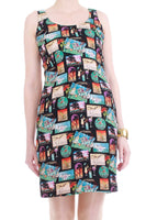 Vintage Nicole Miller Silk Vacation Novelty Print Tank Dress Made in the USA