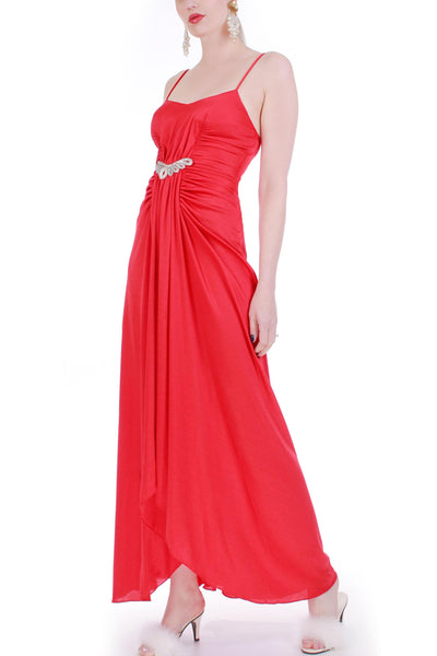 70s Red Ruched Sparkly Sequin Disco Gown Maxi Dress Women's Size XS