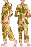 60s Vintage 2pc Mod Chrysanthemum Brushed Cotton Pantsuit by Alice Polynesian Fashions