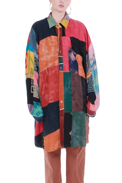 "Vintage 80s Colorful Patchwork Button Down Rayon Shirt Size 5X 60"" bust"