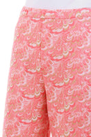 60s Mod Peach Textured Poly Knit Wide Leg Pants Size S