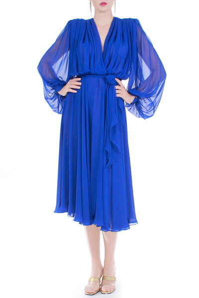 70s Vintage Cobalt Blue Double Layered Chiffon Dress Women's Size Medium