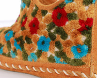 60s Vintage Chenille and Suede Colorful Floral Moccasins Slippers Women's Size 8 USA