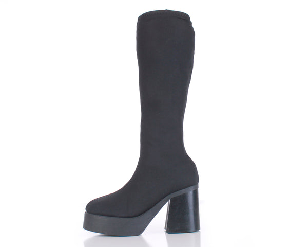 90s Black Platform Stretch Fabric Neoprene Knee High Heel Boots Size 7.5 USA
