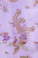 Vintage Lavender Dragon Embroidered Shiny Satin Cheongsam Maxi Dress Women's Size Small