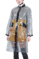"60s Clear Striped Vinyl Raincoat with Head Scarf Made in Japan Women's Size Medium 43"" bust"