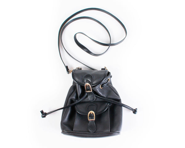 90s Black Vegan Leather Drawstring Mini Purse Backpack