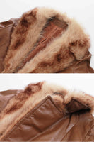 Vintage Caramel Leather Wrap Coat with Fur Trim Penny Lane Jacket Size Small
