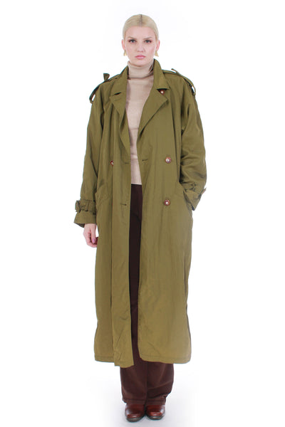"80s Moss Green Trench Coat Raincoat with Insulated Lining Women's Size XL 44"" bust"