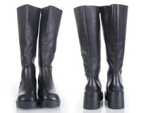 90s Steve Madden Black Leather Platform Knee High Boots Rave Goth Women's Size 9