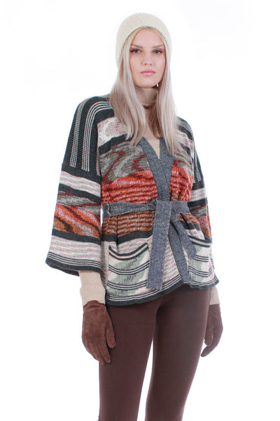70s Vintage Space Dyed Acrylic Knit Belted Multicolored Earth Tone Cardigan Sweater Size Medium