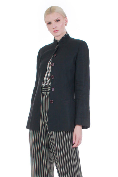 "Vintage Kenzo Paris Linen Jacket in Black Made in France Women's Size Medium 38"" bust"