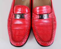 Vintage Escada Red Croc-Embossed Buckled Penny Loafers Made in Italy Women Size US 8.5-9 | UK 7.5-7 | EUR 39