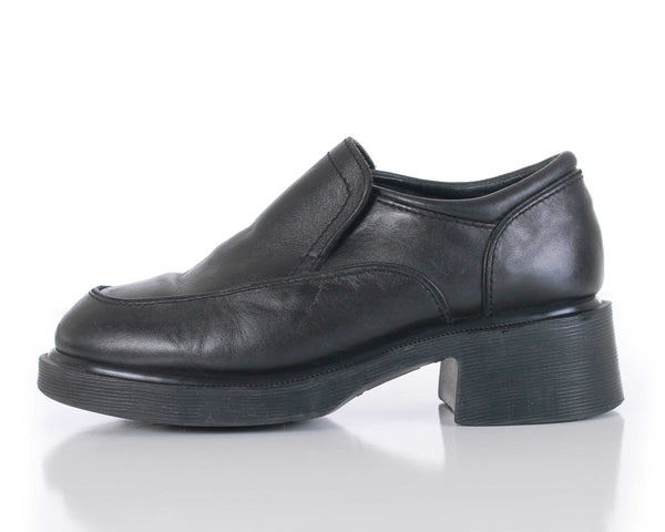 90s Dr Martens England Black Leather Platform Block Heel Slip On Loafers Size US 7 | UK 5 | EUR 37-38